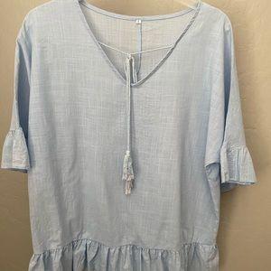 ⭐️Ruffled Tie Neck Tunic Linen Light Blue L
